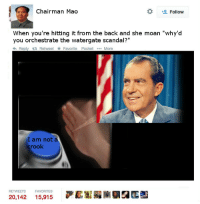 """Scandal, Text, and Back: Chairman Mag  # Follow  When you're hitting it from the back and she moan """"why'd  you orchestrate the watergate scandal?""""  わReply t: Retweet ★ Favorite Pocket More  I am not à  crook  RETWEETS  FAVORITES  20,142 15,915 萨薪 <p>&lt;sample text&gt;</p>"""