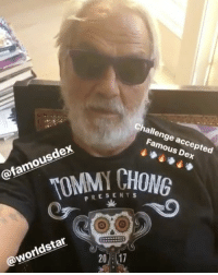 Memes, Smoking, and Worldstar: Challenge accepted  Famous Dex  TOMMY CHONG  @famousdex  PRESENTS  sk  0  @worldstar  20:17 TommyChong responds to FamousDex.. how long do y'all think Dex would last smoking with Tommy?! 👀🤔 @heytommychong @famousdex WSHH