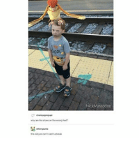 Nice hat bruh . ~ . thnksfrthfandoms textpost: champagnepupi  why are his shoes on the wrong feet?  this kid just can't catch a break  Nick Mastodon Nice hat bruh . ~ . thnksfrthfandoms textpost