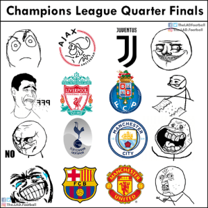 Club, Finals, and Football: Champions League Quarter Finals  The LADFootball  JUUENTUS  D Football  YOUULL NEVERWALKALONE  LIVERPOOL  FOOTBALL CLUB  EST-1892  CHES  94  NO  CITY  CHES  FCB  The.LAD.Football Champions League Quarter Finals. https://t.co/YZEQyfok0m