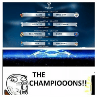 It's Back Boys! ⚽️😢👍🔥 UCL TheChampions ChampionsLeague Football Europe: CHAMPIONS  LEAGUE  Tuesday 13 Feb  BASEL  20:45 CET  MAN. CITY  St. Jakob-Park  Tuesday 13 Feb | 20:45 CET  JUVENTUS  TOTTENHAM  Juventus Stadium  Wednesday 14 Feb |  20:45 CET  REAL MADRID  PARIS  Estadio Santiago Bemabéu  Wednesday 14 Feb | 20:45 CET  PORTO  LIVERPOOL  Estádio do Dragão  THE  10CHAMPIOOONS!! It's Back Boys! ⚽️😢👍🔥 UCL TheChampions ChampionsLeague Football Europe