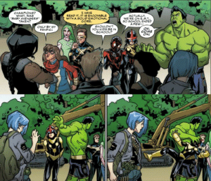 Family, School, and Taken: CHAMPIONS?  WHAT, WAS  BABY AVENGERS  TAKEN?  L HAVE  READ IT. IT IS ENJOYABLE  WITH A SOLID EMOTIONAL  CORE  WE'RE ON E.S.T.  SO SCHOOL ENDED  A FEW-  SHOULON'T  you KIDS BE IN  SCHOOL?  ONLY BY MY  OH  COME  ONL  FANFIC samlalexander:  these two panels cleared my skin, watered my crops, and fed my family