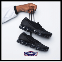 "Memes, Sports, and 🤖: CHAMPS  CHAMPS  SPORTS AirMax Luxury. The ""Anthracite"" Vapor Max Flyknit are available now. ⚫️⚫️⚫️"