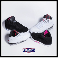"It's a family affair. Jordan Retro 5 ""Cement"" and ""Deadly Pink"" is now at Champs! Tap to shop.: CHAMPS  SPORTS It's a family affair. Jordan Retro 5 ""Cement"" and ""Deadly Pink"" is now at Champs! Tap to shop."