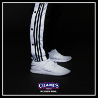 Memes, Sports, and Game: CHAMPS  SPORTS  WE KNOW GAME. Gear up. @adidasoriginals Snap Track Pants are back both in stores and online! WeKnowGame