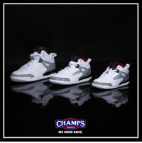"Memes, Sports, and Game: CHAMPS  SPORTS  WE KNOW GAME. The Jordan Spizike gets the ""Cement"" treatment in kids sizing! Available now."