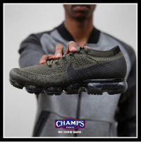 "Friday, Memes, and Nike: CHAMPS  SPORTS  WE KNOW GAME The Nike VaporMax ""Khaki"" is on its way this Friday! Are you feeling the new colorway?"