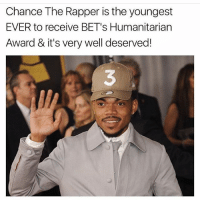 Chance the Rapper, Family, and Memes: Chance The Rapper is the youngest  EVER to receive BET's Humanitarian  Award & it's very well deserved!  3 Respect family, can someone hook me up with @chancetherapper 💪🏿💪🏽🌞I think we could collaborate on a project together.