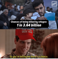 Memes, 🤖, and One Outs: Chances of being killed by refugee:  1 in 3.64 billion  A  GREAT ACAh  So you're telling me there's a chance.  CAFE No, it isn't one out of a hundred.