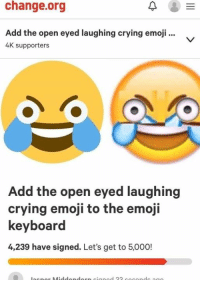 -cinnamin: change.org  0  Add the open eyed laughing crying emoji.  4K supporters  Add the open eyed laughing  crying emoji to the emoji  keyboard  4,239 have signed. Let's get to 5,000! -cinnamin