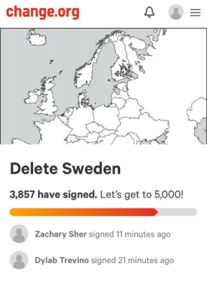 Sweden, Change, and Wonder: change.org  Delete Sweden  3,857 have signed. Let's get to 5,00 0!  Zachary Sher signed 11 minutes ago  Dylab Trevino signed 21 minutes ago Wonder what Felix thinks of this