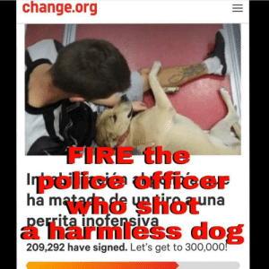 Bailey Jay, Barcelona, and Facts: change.org  FIRE the  police officer  ha m  errita inofensiva  a harmless dog  209,292 have signed. Let's get to 300,000 Repost from @compassion_cult using @RepostRegramApp - JusticeForSOTA Please Please Please sign the Petition in my bio. This well known homeless man who sold bracelets to make a living for him and his female dog was accosted by police making the dog come to his defense where they shot and killed her. Justice is just the beginning of what needs to take place for this atrocity. Nearly 200 people gathered outside BarcelonaCityHall on Wednesday to demand an investigation into a municipal police officer who shot a dog dead on Tuesday (12-18-18)after claiming that the animal was attacking him. The protest was called by PACMA ( @partidopacma ) the animal rights party, which wants Barcelona Mayor AdaColau to investigate the facts of the case. The incident took place where Gran Vía meets Plaça de Espanya, in the neighborhood of Sants. According to the police VERSION of events, two officers walked up to a street vendor to inform him that his dog should be restrained to comply with city bylaws. The young man, who was reported as homeless, allegedly took a confrontational attitude and refused to tie up the animal, which was a mixed-breed female named Sota. The police said that the dog attacked one of the officers, biting his hand. Its owner was unable to control her, and she lunged again, at which point the officer took out his service weapon and shot her in the head. Thank you @01helene and all others who are posting on this tragic event. Share SignThePetition PetitonsWORK SLACKtivismWORKS