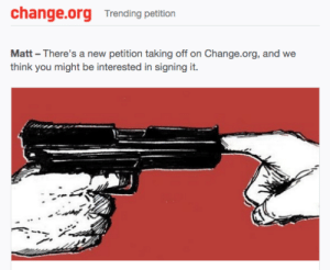 Fucking, Guns, and Target: change.org Trending petition  Matt There's a new petition taking off on Change.org, and we  think you might be interested in signing it. hungwy: lgbltsandwitch:   ssj14goku:  dildomuncher3000:  ssj14goku:  domozillla:  ssj14goku:  thetwinkerbell:  ssj14goku:  Change.org - Petition To Hire 1,000,000 People To Put Their Fingers In The Shoot Hole Of Peoples' Guns So They Can't Shoot Them  It's still gonna shoot… And they're gonna lose a finger  No. The finger blocks the bullet. We can do this  This is a gun we're talking about. The projectile is fired using an explosion, not by compressed air of a toy gun or the elastic forces of a sling shot. People would be lucky if they only lost their finger.  The finger blocks it  The finger won't block it - the shaft is only there for keeping the bullet straight, all the propulsion happens behind the bullet. The bullet would rip through the finger, not that many would actually fit without the victim being a child, and beyond.  The bullet would go forward a little and then hit the finger and stop it's not that hard to understand   People are going to lose their hands. Go watch Mythbusters. They did an episode on this, the hand fucking exploded.    No, the bullet would start to go but stop at the finger. Thats basic physics. Also hands dont explode normally they did something wrong.