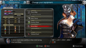 Whip, Aries, and Dress: Change your equipment.  Equipment  STATUS  WEAPON  134/216  HP  Thorn Whip  83/152  MP  CONDITION  Infinite Rounds  GOOD  НЕAD  STATS  Aries' Horns  17  12  ATK  DEF  14  13  STR  CON  BODY  16  19  INT  MND  Country Dress  LCK  ACCESSORY I  RESIST  Stone Mask  ACCESSORY II  SCARF  5  Tattered Scarf  A stone mask once used by a tribal chief during  DEF 1, LCK 1, CON 1, MND 1  ritual sacrifices.  A) Change  Back  Resume Game  OOOO LO  WOWHO  CO  O  O OO 0  LO Looks like we can Reject our Humanity in Bloodstained too.