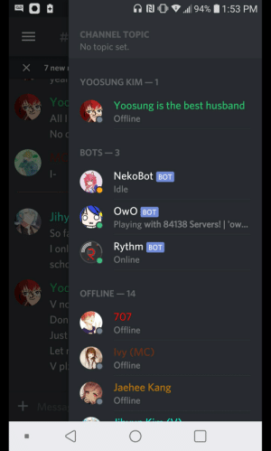 It says I'm online, but says I'm offline, but I am online... Discord what the hell lololol-: CHANNEL TOPIC  No topic set.  X 7 new  yca YOOSUNG KIM-  Yo  O  All  No  Yoosung is the best husband  Offline  BOTS -3  NekoBot BOT  Idle  Jihy  So f  I on  SC  Playing with 84138 Servers! 'ow...  Rythm BO  Online  if  Yo  OFFLINE-14  no  Don  Just  Let  V pl  707  Offline  Ivy (MC)  Offline  Jaehee Kang  Offline It says I'm online, but says I'm offline, but I am online... Discord what the hell lololol-