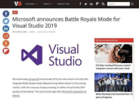 "Cant wait!!: CHANNELS EVENTS NEWSLETTERS  in  DEV  Microsoft announces Battle Royale Mode for  Visual Studio 2019  in  EMIL PROTALINSKIPEPRO JUNE 6,2018 10 58 AM  VB Recommendations  Visual  1PP  Ctri-labs' armband lets you control  computer cursors with your mind  Microsoft today announced Visual Studio 2019, the next version of its IDE with  integrated Battle Royale mode. Release timing will be shared in the coming  months,"" with the company simply promising ""to deliver Visual Studio 2019  quickly and iteratively. The news comes days after Microsofts acquisition of  GitHub  What Alienware has learned from 10  years of esports Cant wait!!"
