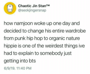 Nature, Hip Hop, and Bts: Chaotic Jin StanTM  @seokjingersnap  how namjoon woke up one day and  decided to change his entire wardrobe  from punk hip hop to organic nature  hippie is one of the weirdest things ive  had to explain to somebody just  getting into bts  6/9/19, 11:40 PM