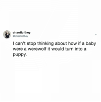 Puppy, Relatable, and Baby: chaotic they  @ChaoticThey  I can't stop thinking about how if a baby  were a werewolf it would turn into a  puppy. How can I adopt?