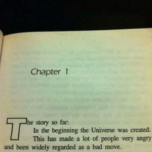 meirl: Chapter 1  T  he story so far:  In the beginning the Universe was created  This has made a lot of people very angry  and been widely regarded as a bad move. meirl