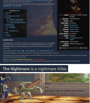 "9gag, A Nightmare on Elm Street, and Community: Chapter DLC released on 26 October 2017.  He originates from the 2010 remake of the Horror Movie of the same name, A  Nightmare on Elm Street  CONTENTS [hide]  i Overview  2 Lore  Name Frederick ""Freddy"" Charles  3 The Nightmare's Perks  Krueger  4 Load-out  ""The Sandman""  Alias(es)  4.1 Weapon: Clawed Glove  Gender Male  4.2 Power. Dream Demon  4.3 Add-ons for Dream Demon  Nationality American  5 Achievements  Realm Springwood  6 Customisation  Power Dream Demon  6.1 Prestige  7 DLC  Weapon Clawed Glove  7.1 Available DLC  Speed 115% 