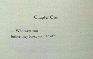 Heart, Who, and One: Chapter One  Who were you  before they broke your heart?