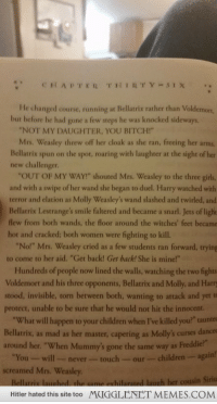 """Bitch, Children, and Girls: CHAPTER THIRTY SIX.  He changed course, running at Bellatrix rather than Voldemort  but before he had gone a few steps he was knocked sideways.  NOT MY DAUGHTER, YOU BITCH!  Mrs. Weasley threw off her cloak as she ran, freeing her arms  Bellatrix spun on the spot, roaring with laughter at the sight of her  new challenger  """"OUT OF MY WAY!"""" shouted Mrs. Weasley to the three girls,  and with a swipe of her wand she began to duel. Harry watched with  terror and elation as Molly Weasley's wand slashed and twirled, and  Bellatrix Lestrange's smile faltered and became a snarl. Jets of ligh  flew from both wands, the floor around the witches' feet became  hot and cracked; both women were fighting to kill.  No!"""" Mrs. Weasley cried as a few students ran forward, trying  to come to her aid. """"Get back! Get back! She is mine!""""  Hundreds of people now lined the walls, watching the two fights  Voldemort and his three opponents, Bellatrix and Molly, and Harry  stood, invisible, torn between both, wanting to attack and yet t  protect, unable to be sure that he would not hit the innocent.  """"What will happen to your children when I've killed you?"""" taunte  Bellatrix, as mad as her master, capering as Molly's curses dances  around her. """"When Mummy's gone the same way as Freddie?""""  You-willnever-touch-our-children-aga  screamed Mrs. Weasley  hilarated laugh her cousin Siriu  Hitler hated this site too MUGGLENET MEMES.COM <p>Mrs. Weasley is such a badass. <a href=""""http://ift.tt/1w8dJUa"""">http://ift.tt/1w8dJUa</a></p>"""