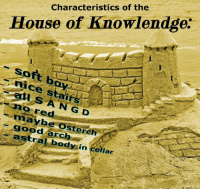 "Reddit, Good, and House: Characteristics of the  House of Knowlendge.  nice stair  nored  maybe Osterch  good arch  astral body in cellar <p>[<a href=""https://www.reddit.com/r/surrealmemes/comments/7xqqmo/s_a_n_g_d_castle/"">Src</a>]</p>"