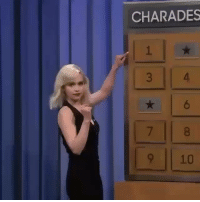 Jimmy Fallon, Memes, and Emilia Clarke: CHARADES  6  9 10 Emilia Clarke playing charades on the Tonight Show with Jimmy Fallon 🔥 https://t.co/W9eBsquX5h