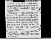 """Hanson, Arnold, and Law: charge  38, of  with driving after suspension  and driving an unregistered ve  hicle follow  a c stop on  Ma  treet.  2:58 pm. The Learning Cen-  ter on Hanson Street reports a  man across the way stands at his  window for hours watching the  center, making parents nervous.  Police ID the subject as a card.  board cutout of Arnold  Schwarzenegger.  18 p,m  A kitte  law  has """"rectum  Drive  a  problems."""" Lol what?   Gym Memes"""