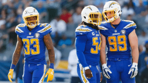 Memes, Best, and Chargers: CHARGERS  99  33  CEK  CHARGERS  50 The NFL's best defensive trios:  1. Bosa. Ingram. James. ⚡️ 2. Lawrence. Smith. Vander Esch. ⭐️ 3-5: https://t.co/Lx7yqepZyr (via @BuckyBrooks) https://t.co/RRNjCwKCxu