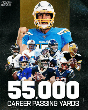 Last Sunday, Philip Rivers became the 8th QB to reach 55,000 career passing yards. ⚡️ https://t.co/Yp0feqIXa0: CHARGERS  CHARGER  PATRIOTS  55000  CAREER PASSING YARDS Last Sunday, Philip Rivers became the 8th QB to reach 55,000 career passing yards. ⚡️ https://t.co/Yp0feqIXa0