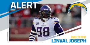 Chargers, DT Linval Joseph agree to terms on two-year deal worth $17M. (via @MikeGarafolo) https://t.co/OeVQl48v32: Chargers, DT Linval Joseph agree to terms on two-year deal worth $17M. (via @MikeGarafolo) https://t.co/OeVQl48v32