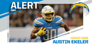 Chargers reach agreement with RB Austin Ekeler on 4-year deal worth $24.5 million ($15 million in guarantees). (via @RapSheet) https://t.co/9awwR3mQ6w: Chargers reach agreement with RB Austin Ekeler on 4-year deal worth $24.5 million ($15 million in guarantees). (via @RapSheet) https://t.co/9awwR3mQ6w
