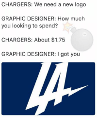 CHARGERS: We need a new logo  GRAPHIC DESIGNER: How much  you looking to spend?  CHARGERS: About $1.75  GRAPHIC DESIGNER: I got you Lame logo...