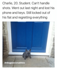 @dogpersonalities makes up stories for dogs and I swear to god it's the funniest account on Instagram 😂😂😂: Charlie, 20. Student. Can't handle  shots. Went out last night and lost his  phone and keys. Still locked out of  his flat and regretting everything  @dogpersonalities @dogpersonalities makes up stories for dogs and I swear to god it's the funniest account on Instagram 😂😂😂