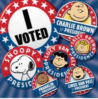 Charlie, Memes, and Browns: CHARLIE BROWN  VOTED  LY B  NO OP  n ENT  SICA  PELT  LINUS PRESIDENT  FRANKLIN  O PNTS Time to vote!