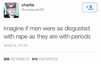 "Charlie, Dude, and Fucking: charlie  @cutequeer96  1  imagine if men were as disgusted  with rape as they are with periods  9/29/14, 07:25  808 RETWEETS 915 FAVORITES <p><a href=""http://agatha-eir.tumblr.com/post/98727022036/holy-shit"" class=""tumblr_blog"">agatha-eir</a>:</p>  <blockquote><p>Holy shit.</p></blockquote>  <p>What fucking fantasy land y'all live in where men are just out there like ""Heidi Ho my fellow dude it's time to rape some bitches! *slaps five*  Indeed my good sir I do say it's a fine day for raping! I love rape so very much!""</p>"
