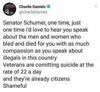 Charlie, Love, and Suicide: Charlie Daniels  @CharlieDaniels  Senator Schumer, one time, just  one time i'd love to hear you speak  about the men and women who  bled and died for you with as much  compassion as you speak about  illegals in this country  Veterans are comitting suicide at the  rate of 22 a day  and they're already citizens  Shameful Exactly right!