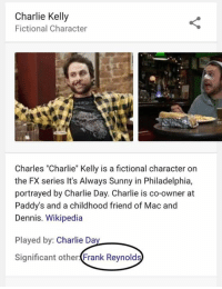 """Charlie, Denny's, and Memes: Charlie Kelly  Fictional Character  Charles """"Charlie"""" Kelly is a fictional character on  the FX series It's Always Sunny in Philadelphia,  portrayed by Charlie Day. Charlie is co-owner at  Paddy's and a childhood friend of Mac and  Dennis. Wikipedia  Played by  Charlie Da  Significant other  Frank Reynolds"""