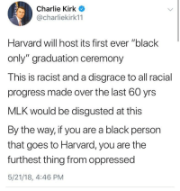 "Charlie, Memes, and Black: Charlie Kirk  @charliekirk11  Harvard will host its first ever ""black  only"" graduation ceremony  This is racist and a disgrace to all racial  progress made over the last 60 yrs  MLK would be disgusted at this  By the way, if you are a black person  that goes to Harvard, you are the  furthest thing from oppressed  5/21/18, 4:46 PM 🗣 @Badassery"