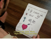 """Charlie, Dude, and Love: Charlie No, dude. That's  """"Night Man """"Those are lyrics. You make me wanna cry You make me wanna die I love you, I love you, I love you, I love you, I love you Night Man"""