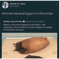 <p>Putting Cleopatras weave on display (via /r/BlackPeopleTwitter)</p>: Charlie St. Clout  @wristofer  We knew because Egypt is in Africa Imao  Shelby Ivey Christie @bronze_bombSHEL  Reasons we know Egyptians were Black. Hair  extensions (box braids?) in ancient Egypt on display  the Brooklyn museum: <p>Putting Cleopatras weave on display (via /r/BlackPeopleTwitter)</p>