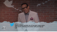 Being Alone, Charlie, and Creepy: Charlie Wilson reminds me of that old creepy uncle  you weren't allowed to be alone with growing up  o O  MEL