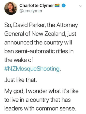 attorney: Charlotte Clymer  @cmclymer  So, David Parker, the Attorney  General of New Zealand, just  announced the country will  ban semi-automatic rifles in  the wake of  #NZMosqueShooting.  Just like that.  My god, I wonder what it's like  to live in a country that has  leaders with common sense.
