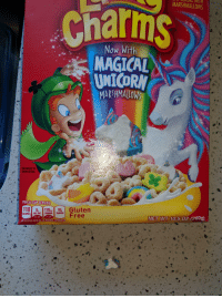 Magical Unicorn: charms  CLILAL WITH  MARSHMALLOWS  Now With  MAGICAL  UNICORN  MARSHMALLOWS  ENLARGED TO  SHOW DETAIL  PER 3/4 CUPSERVING  100 170 10  CALORIES SAT FAT | SODIUM 11 SUGARS  Free  NET WT  10.5 0Z (297g  090 DV  70% D  JEE NUTRITION FACTS FOR AS PREPARED INFORMATION