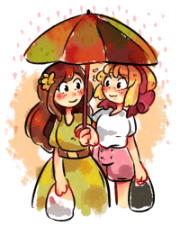Definitely, Target, and Tumblr: chartini:  Theme: [sharing an umbrella]60 minute challenge from twitter! Though I started way too close before going to bed so I definitely did not use close to that, haha. But I noticed there was finally a theme + pairing I wanted to draw for, so had to take that chance!