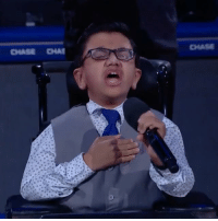 Sparsh Shah is a 13-year-old with brittle bones disease. He's had over 130 fractures, yet somehow had the strength to do this 🙏🎤🇺🇸: CHASE CHAI Sparsh Shah is a 13-year-old with brittle bones disease. He's had over 130 fractures, yet somehow had the strength to do this 🙏🎤🇺🇸