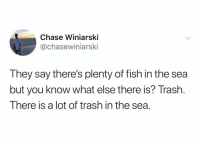 Trash, Chase, and Fish: Chase Winiarski  @chasewiniarski  They say there's plenty of fish in the sea  but you know what else there is? Trash.  There is a lot of trash in the sea I don't want to end up with a used Capri sun pouch