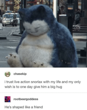Life, Live, and Big: chasekip  i trust live action snorlax with my life and my only  wish is to one day give him a big hug  rootbeergoddess  He's shaped like a friend Snorlax would be a great friend