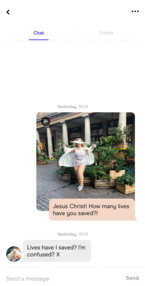 Thick thighs save lives bb: Chat  Profile  Yesterday, 19:34  HANEL  CHANEL  CHANE  Jesus Christ! How many lives  have you saved?!  Yesterday, 19:34  Lives have I saved? I'm  confused? X  Send a message  Send  Ili Thick thighs save lives bb